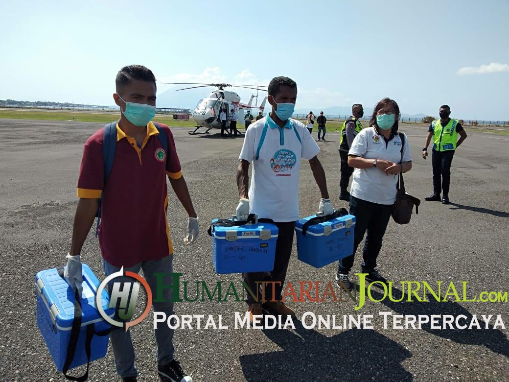 Ratusan Sampel SWAB Kerabat Pasien Covid-19 Dan Tenaga Kesehatan Diantar Helikopter Ke Kupang